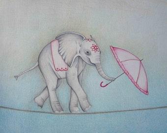 Pencil Art Work Circus Elephant Original Drawing-Print