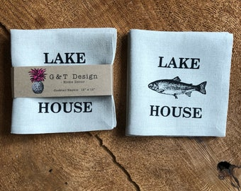 Lake House Screen Printed onto 100% Linen Cocktail  Napkins , Set of 4, Cottage Decor