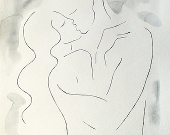 Kiss sketch. Couple drawing for bedroom. Black and white art. Watercolor and ink drawing. A3, embrace, sexy, nude.