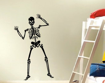 Skeleton vinyl Wall DECAL- halloween interior design, sticker art, room, home and business decor
