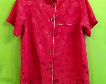 40s Chinese inspired Rayon Pajama Top M