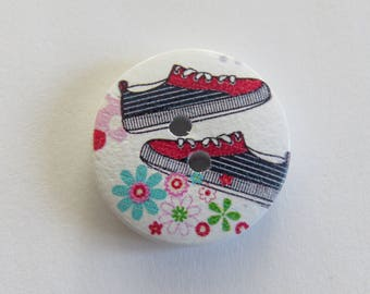 Wooden button with red and black sports shoe pattern