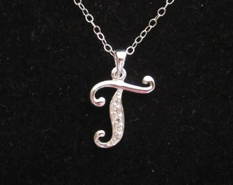 Cz letter initial m sterling silver pendant charm with 925 sterling silver cz letter initial t pendant charm with necklace chain personalized monogram necklace aloadofball Images