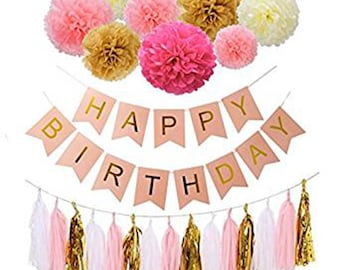 Happy Birthday Girl Boy Decoration Bunting Banners, Golden Garlands Pack with 15 Gold Tassels and 8 Tissue Paper Pom Poms Flower