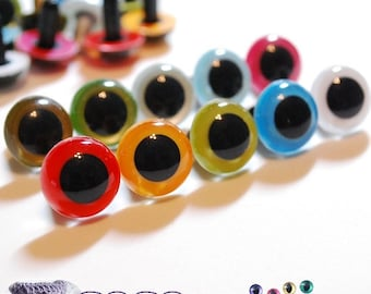 15mm Plastic eyes Safety eyes 10 pairs Mixed Colors (15M10)