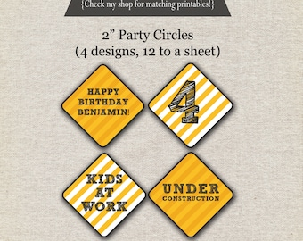 Construction Party Circles | Construction Cupcake Toppers | Dump Truck Party Circles | Dump Truck Party Circles | Dump Truck Party Printable