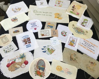 Lot of 26 Vintage Unframed Counted Cross Stitch Embroidery Pictures
