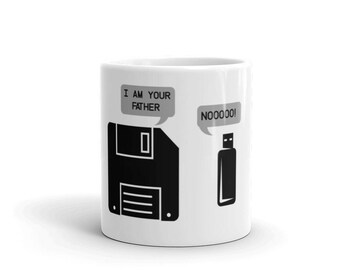 USB Floppy Disk I am Your Father Mug, Funny Geek Gifts Mug, Computer geek gifts - Funny Tech Support Sysadmin Mug - Sysadmin Gifts Mug
