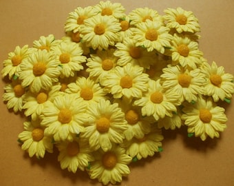 """25 Paper Flowers (Size 1.5"""") Mulberry Paper Craft flower, Wedding, Mulberry paper daisies, Bouquets and Crafts, Yellow Paper Daisy."""