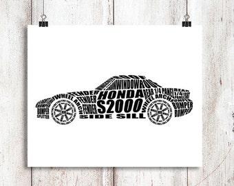 """Honda S2000, Wall Art, Garage Art, Honda, Honda S2000 Sign, Automotive Decor, Instant Download, Honda S2000 Decor, 8x10"""", 14x11"""", 16x20"""""""