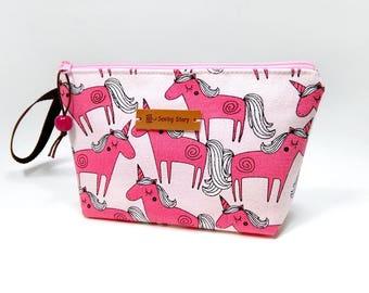 Unicorn Zipper Pouch, Cosmetic Bag, Makeup Bag, Toiletry Bag, Supply Bag, Purse Organizer, Zipper Wristlet, Pink Pouch, Limited Fabric