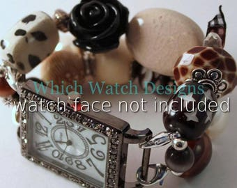 Neutrals.. Black, Brown and Cream Interchangeable Beaded Watch Band