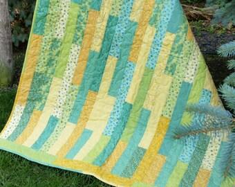 """Lap Quilt """"Lemon Bars"""" - Handmade Quilt - Lemon and Lime"""