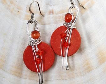 Orange Earrings, Bold Earrings, Costume Jewelry, Colorful Earrings, Tropical Jewelry, Big Earrings, Long Earrings, Summer Jewelry,  Coconuts