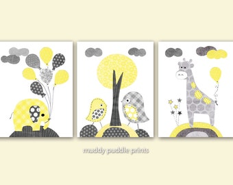 Yellow and Grey Nursery prints, Nursery decor, Nursery art, Yellow, Grey, Elephant, Birds - A yellow balloon
