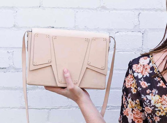 Natural Leather Satchel Bag, Vegetable Tanned Leather Purse, Nude Leather Bag, Genuine Leather Shoulder Bag, Minimalist Bag, Geometric Bag