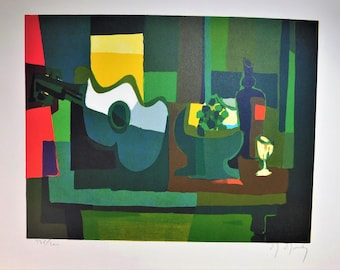 """Marcel Mouly, Nature Morte a la Guitare """"A still life of a guitar"""" hand signed & numbered COA"""