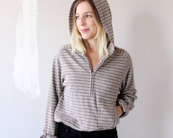 Vintage Striped Hooded Top w/ Pocket - Small