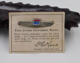 Vintage Metal United Air Lines Airlines Junior Stewardess Wings Pin With the Original Card  dr18