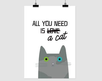 fine-art print poster ALL YOU need is a CAT