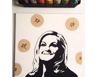 Leslie Knope waffle portrait 12x12