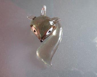 Pretty fox pendant lampwork glass