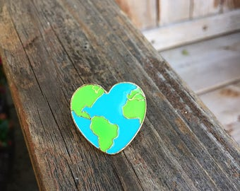 Earth Heart Pin - Enamel Pin - Fashion Pin - Soft Enamel Pin - Environment - Mother Earth Enamel Pin - Stocking Stuffer - Limited Quantity