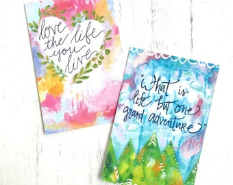 """Inspirational Art Postcards (4x6 inches) pack of two mini prints """"Love Life"""" and """"Grand Adventure"""" / Colorful Postcards"""