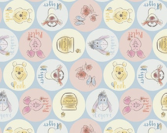 "Disney Fabric - Disney Winnie the Pooh Fabric - Friend Names 100% cotton fabric 44"" wide ***SC392***"