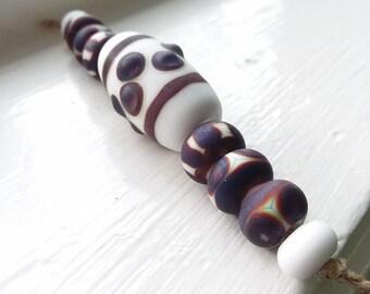 Purple and White Lampwork Glass Beads Set