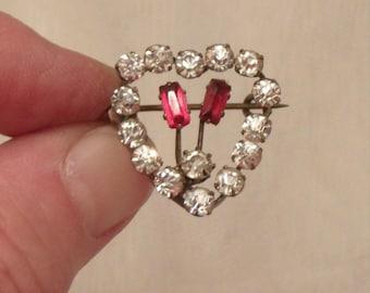 Stunning Edwardian Gold, Pink & Clear Rhinestone Heart Shaped Pin C.1900