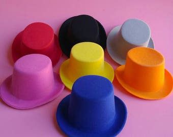 Oval Mini Top Hat Base Blanks - 7 Colors To Choose From - Felt Flocked DIY Undecorated Plain Millinery Pink Blue Black White Yellow Red