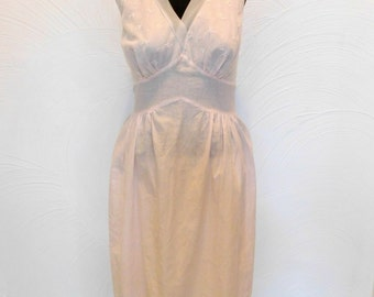 Vintage Pink Nightgown Sheer Babydoll Lingerie with Embroidery - L