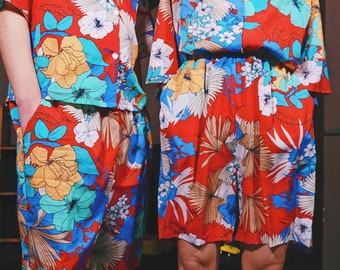 Lost in Kyoto Collection red blue floral blossom shorts