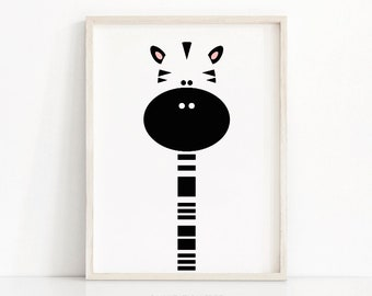 Zebra Nursery Print Digital Download, Animal Nursery Wall Art, Kids Art, Monochrome Nursery Art Print, Black White Nursery Decor, Kids Print