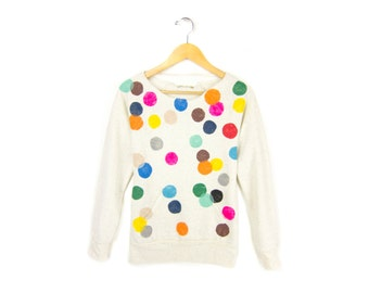 Colorful Confetti Sweatshirt - Scoop Neck Long Sleeve Fleece Pocket Sweater in Heather Cream Multi Rainbow - Women's Size S-4XL Q