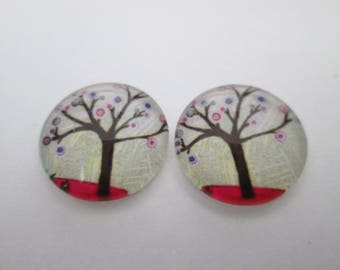 2 cabochons glass 16 mm tree of life print