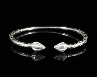 160 West Indian Bangle with Cocoa Pods Handmade in Sterling Silver .925