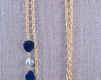 "Sapphire & Baroque Freashwater Pearl Gemstone Link Chain Necklace - 22K gold plated - 42"" long - Double Wrap - Long - LINDOS 1"