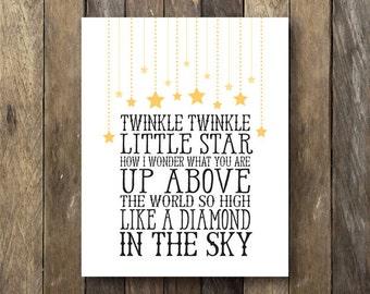 Twinkle Twinkle Little Star Printable - Instant Download Nursery Art - Twinkle Little Star