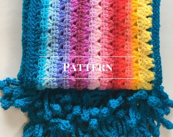 Crochet rainbow scarf pattern, PDF download, Granny Stripe scarf, Denver scarf Pattern