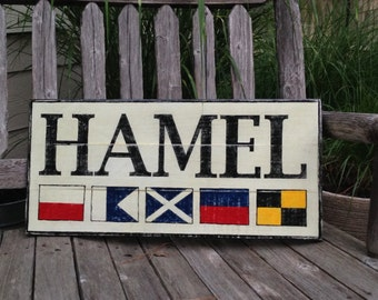 Custom Nautical Flag Name wooden sign - personalized nautical flag sign, nautical sign, nautical wedding gift, personalized name