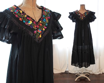 Vintage Black Cotton Gauze Mexican Caftan Dress colorful embroidery embroidered ruffle angel sleeves boho ethnic