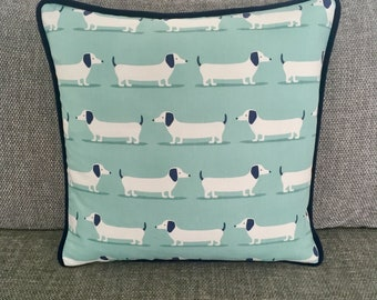 Dachshund Patterned Cushion with Contrast Piping