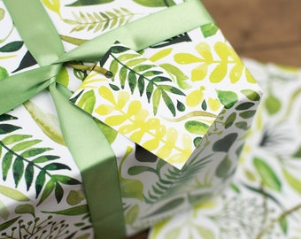 Botanical Leaves Wrapping Paper - Tropical Leaves paper - Birthday Wrapping Paper - Wedding Wrapping Paper - Decoupage, scrap booking