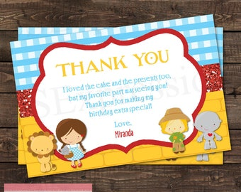 Over The Rainbow Wizard of Oz  Birthday Party Thank you Card