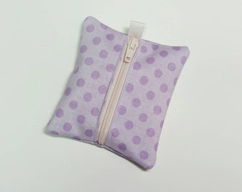 FREE SHIPPING UPGRADE with minimum -  Tiny zipper pouch / earbud holder / earbud pouch / coin pouch | purple dots on violet