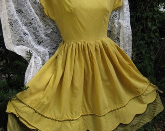 COTTON Black and Golden Yellow dress, Gingham vintage rockabilly country western / southwestern dress, spring summer fall cotton dress