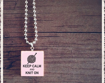 Scrabble Pendant Charm Necklace - Keep Calm And Knit On - Scrabble Game Tile Jewelry - Customize - Choose Your Style