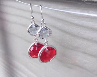 Scarlet and gray earrings, Ohio state earrings